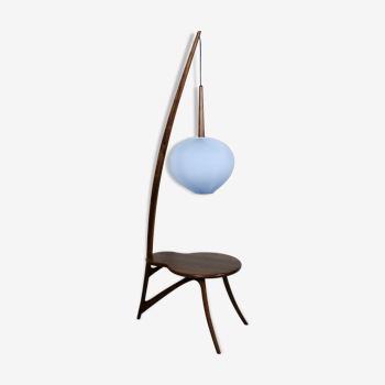Lampadaire moderne du milieu du siècle et table en noix d'Amérique (bleu)