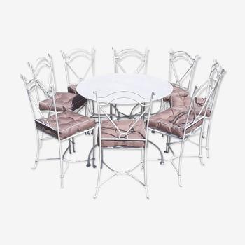 Salon de jardin 1 table 8 chaises en fer forgé blanc ancien