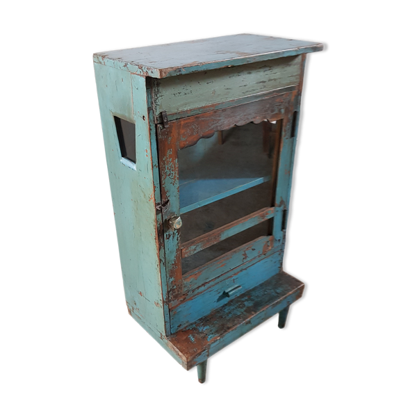 Ancien meuble d'appoint vitré en teck