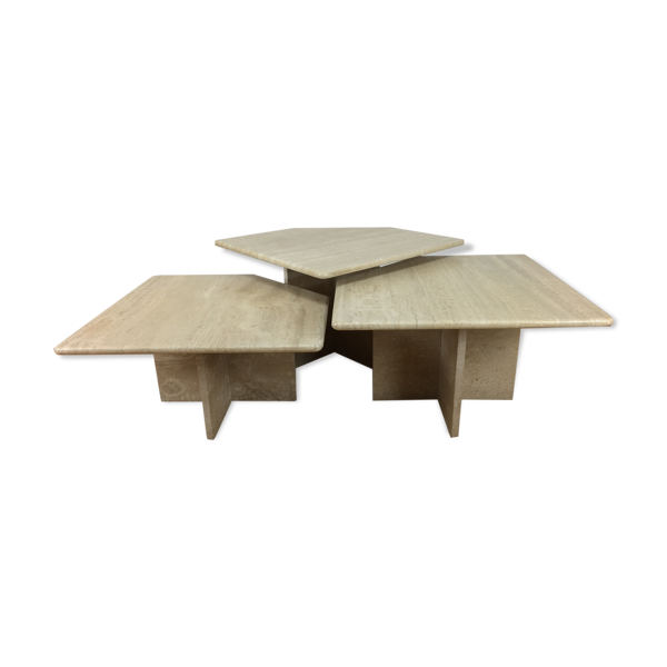 Set de 3 tables basses gigognes travertin