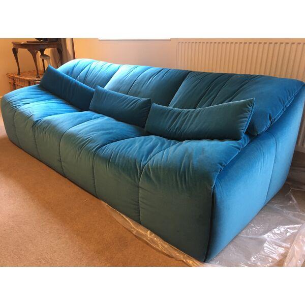 Ligne Roset Plumy 3 Seater Sofa Velvet Blue Selency