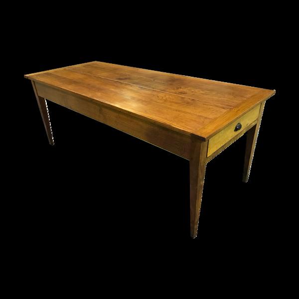 Table de ferme en chêne massif rehaussée 19eme