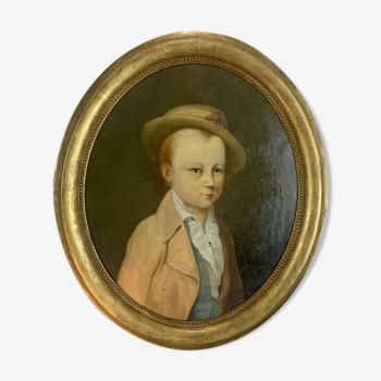 Huile sur toile ovale fin XVIIIe portrait provenance château de Brialy
