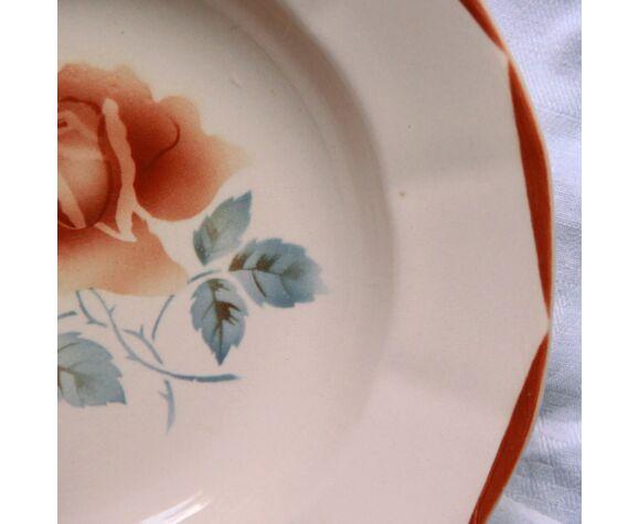 Lot de 6 assiettes creuses fleuries faïence ancienne Digoin Sarreguemines modèle 9181 vieux rose