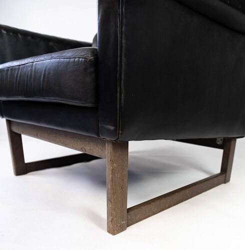 Fauteuil Illum Wikkelsø 60s cuir noir