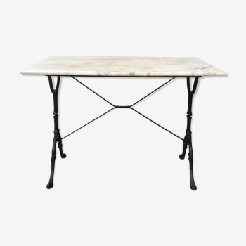 Marble and cast iron bistro table