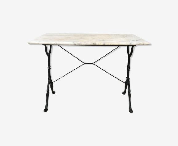 Table bistrot marbre et fonte