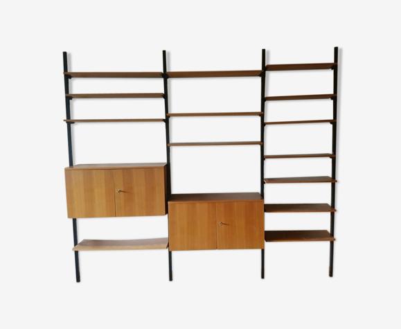 Bibliothèque séparateur de pièces des années 60 en bois et métal