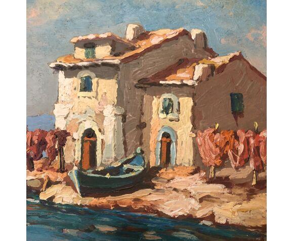 Huile sur panneau signée Breval cabane de pêcheur