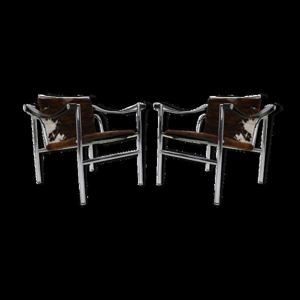 Paire de fauteuils modèle LC1, Le Corbusier pour Cassina, années 1970, Italie