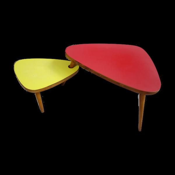 Selency Table d'appoint rouge et jaune 1958