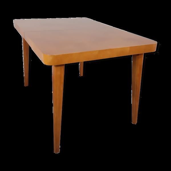 Selency Table extensible plateau damier en merisier, vintage Tchèque 1950