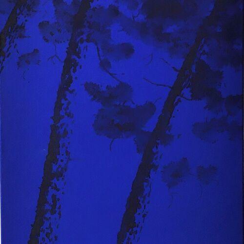 Pins noir sur fond bleu Klein Tableau peinture acrylique sur toile de bertrand cure