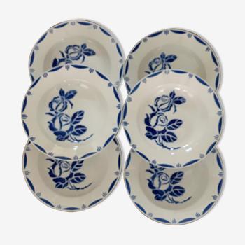 Série de 6 assiettes creuses  anciennes  en faïence, sarreguemines  service bastia