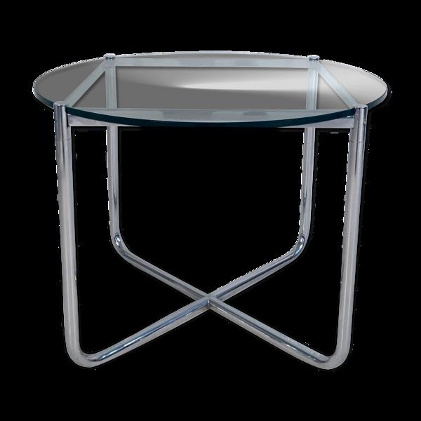 Table d'appoint en verre et chrome de Mies Van Der Rohe pour Knoll, vers 1970
