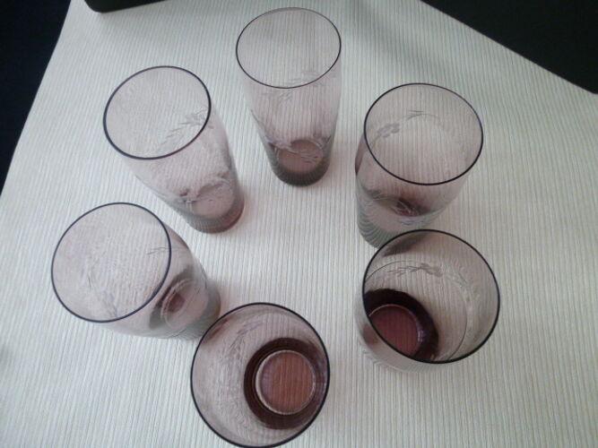 Set de 6 verres à orangeade soda en verre soufflé et décor gravé
