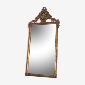 Miroir hollandais rectangulaire 18ème siècle Giltwood Louis XVI Miroir