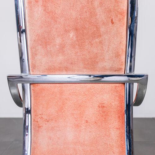 Ensemble de 4 chaises en métal alcantara vintage modernes des années 70