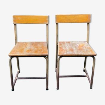 Paire de chaises d'écolier