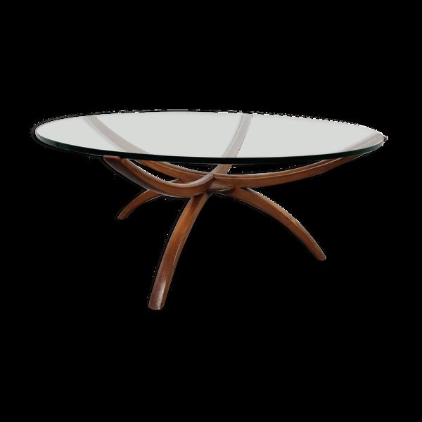 Table basse scandinave en bois et verre , années 60