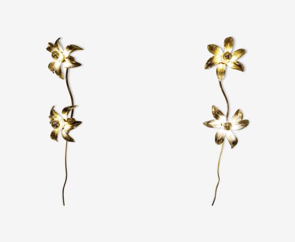 Appliques fleurs en laiton Regency ou plafonnier dans le style de Willy Daro, années 1970, ensemble de 2
