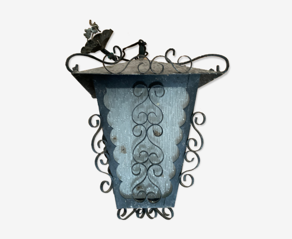 Lampe extérieur en fer forgé et verre lanterne