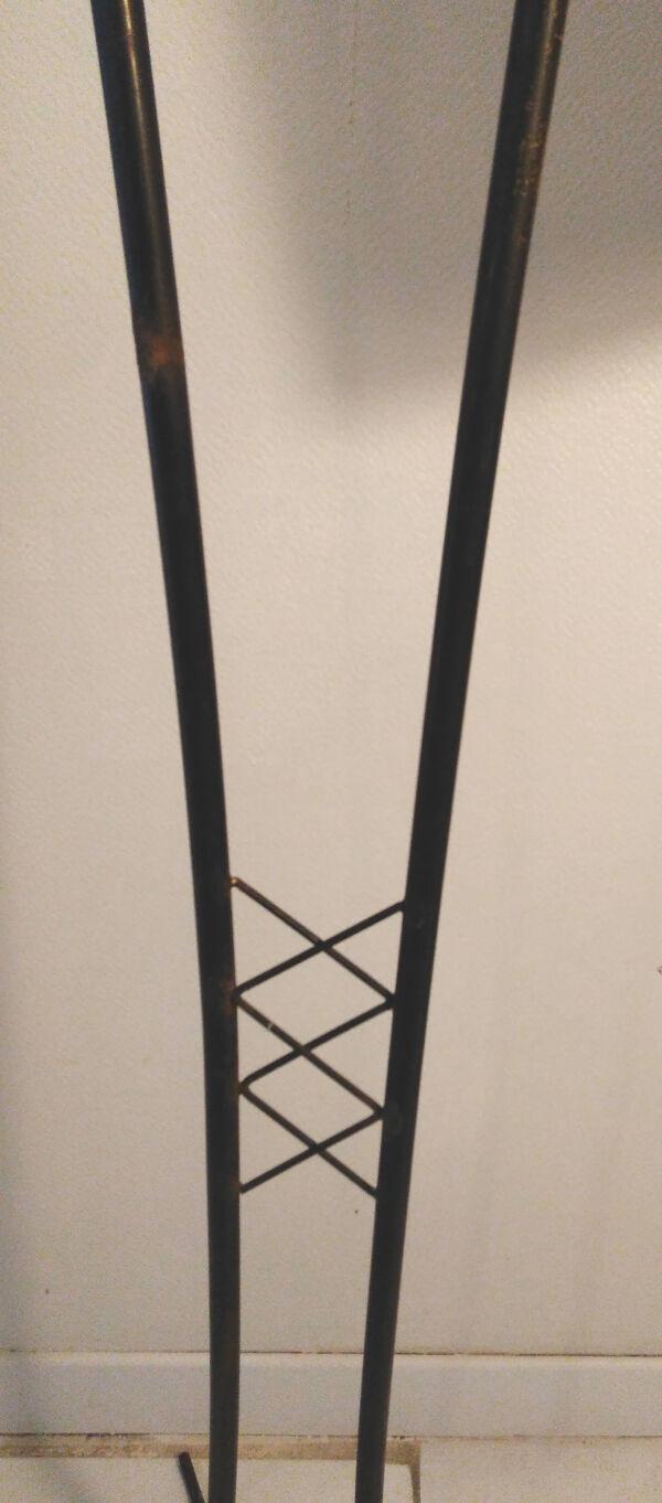 Lampadaire tripode vintage métal noir 2 feux