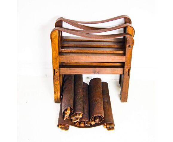 Fauteuils Safari en cuir mi-siècle