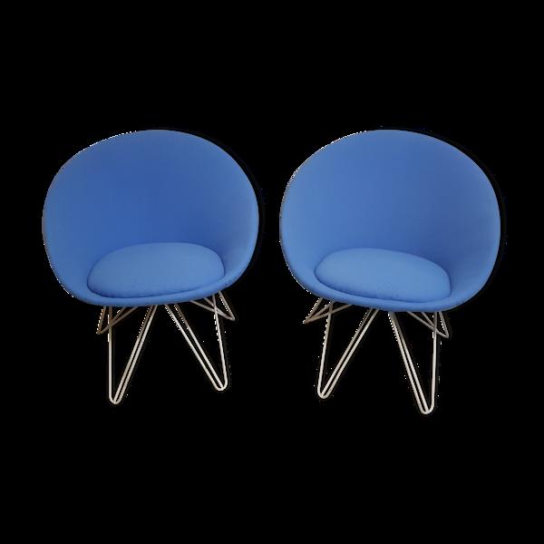Selency Paire de fauteuils bas bleus italien 1950