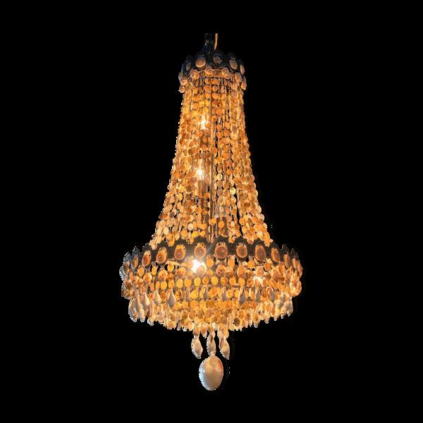 Lustre vintage «sac a perle» en coquillages