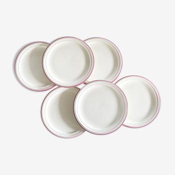 Set de 6 assiettes à dessert faïence de Saint Amand, motif Auberge, peint à la main, vintage frança