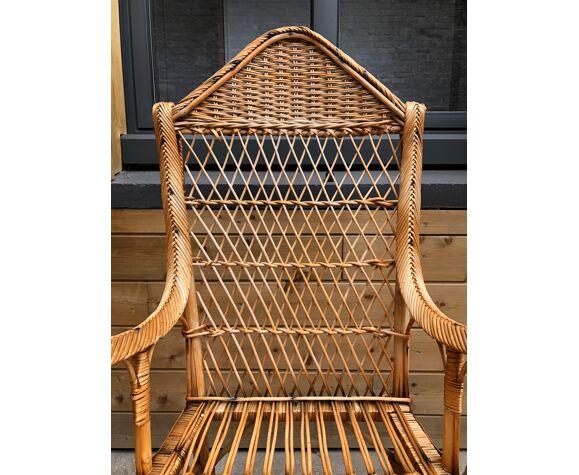 Ensemble de 3 fauteuils en rotin vers 1950