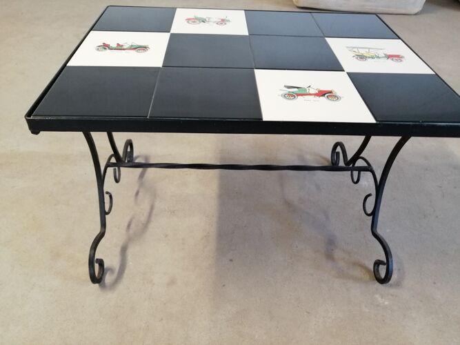 Table basse vintage céromique et fer forgé