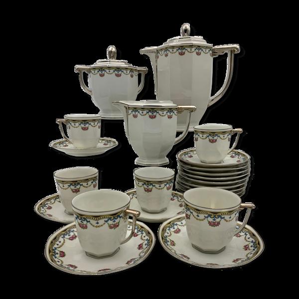 Service à café en porcelaine 33 pièces signé Raynaud & Cie Limoges années 1940