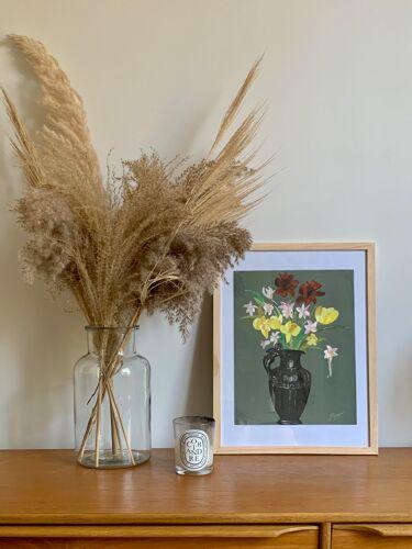 Dessin gouache bouquet de  fleurs