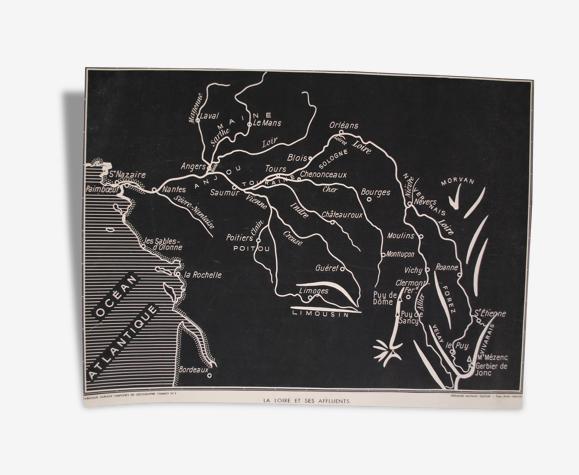 Carte scolaire tableaux muraux La loire et ses affluents