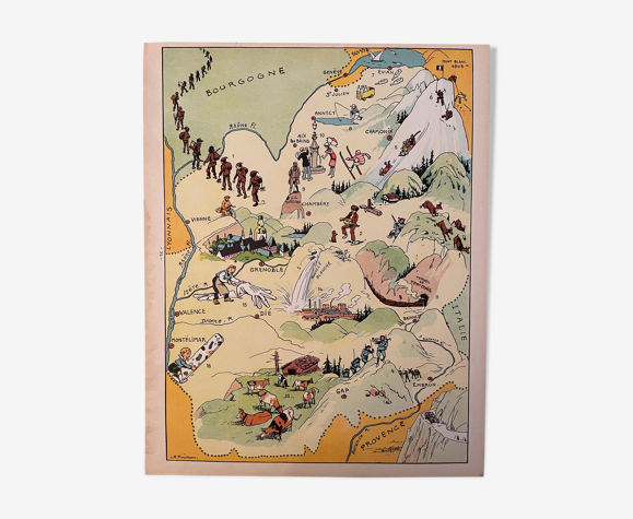 Affiche ancienne carte illustrée de la Savoie - JP Pinchon