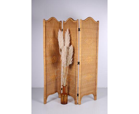 Paravent en rotin diviseur de pièce bambou