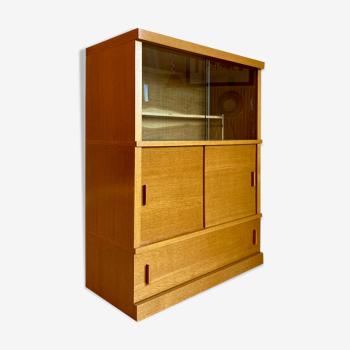 Bibliothèque vitrine modulable par éléments chêne doré vintage années 50