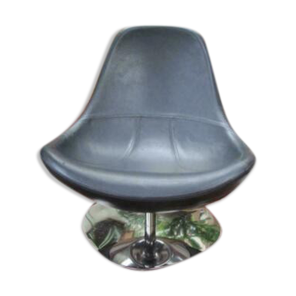 Fauteuil design années 90 cuir métal chromé