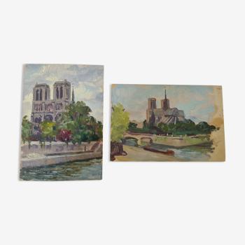 Paire d'huiles par B. Sarraillon Notre Dame de Paris