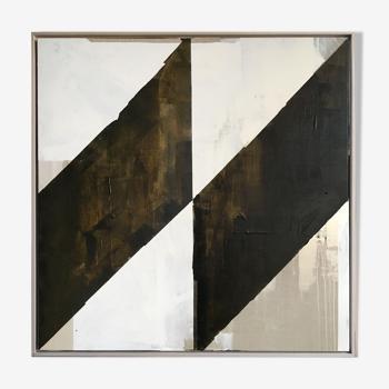 Œuvre d'art originale sur toile de lin Slash 1 - 100x100cm