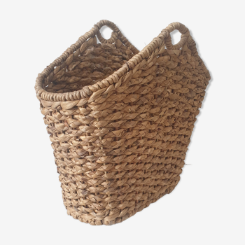 Vintage wicker magazine holder