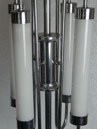 Lustre tubulaire chrome bauhaus