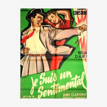 "Affiche originale cinéma ""Je suis un sentimental "" 1955 Bella Darvi,Constantine..."