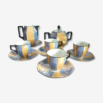 """Service à café """"Art déco"""", porcelaine jaune et bleu"""
