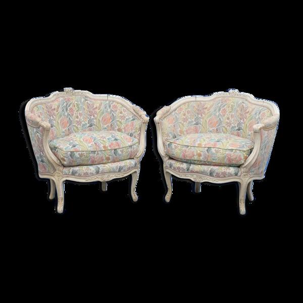 Paire de fauteuils marquises de style Louis XV