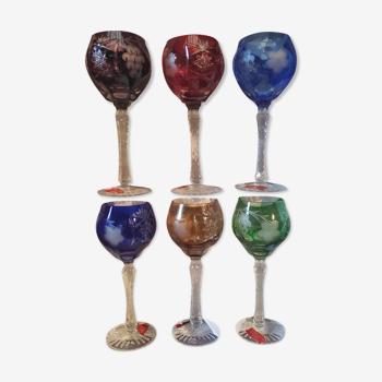 Coffret de 6 verres à vin Roemer en cristal de Lorraine coloré cristallerie Les grands ducs neufs