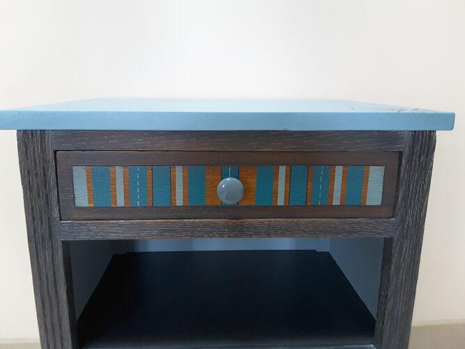 Chevet ou meuble d'appoint années 40 esprit marine