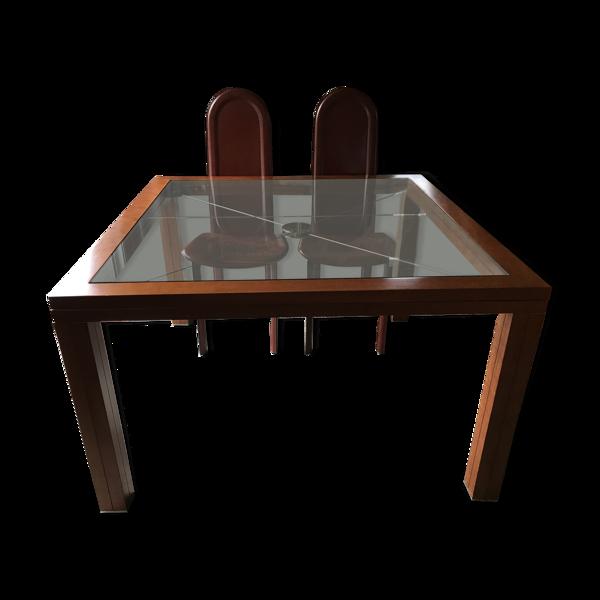 Table merisier plateau verre arbalète Roche Bobois